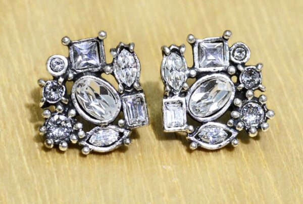 These stud earrings are handmade by Patricia Locke Jewelry. Patricia Locke names each style and this earring style is named Sophia. These earrings feature Patricia Locke's clear crystal color palette called All Crystal.