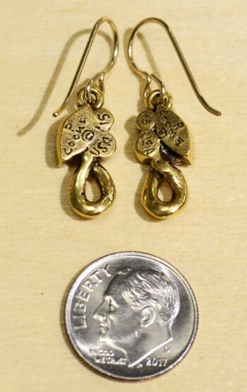 Patricia Locke Soulmate goldtone earrings in All Crystal Back with Dime