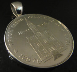 handmade 1965 Tipton, Iowa souvenir coin and sterling silver pendant