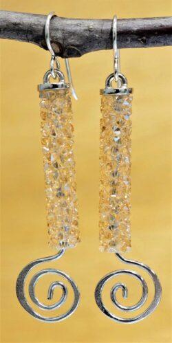 Patricia Locke Spiral dangle earrings in Crystal Golden Shadow