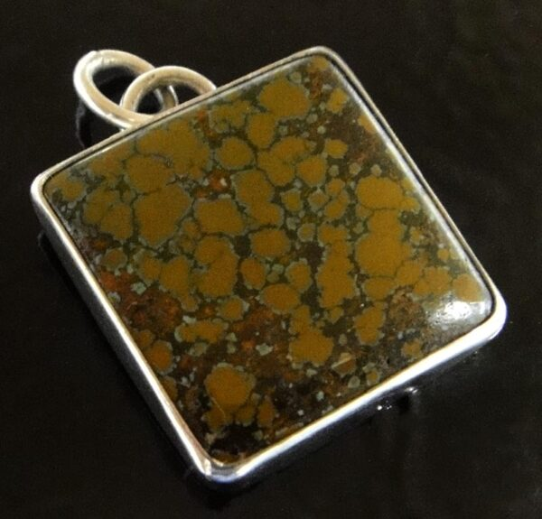 brown turquoise and sterling silver square pendant by Dale Repp
