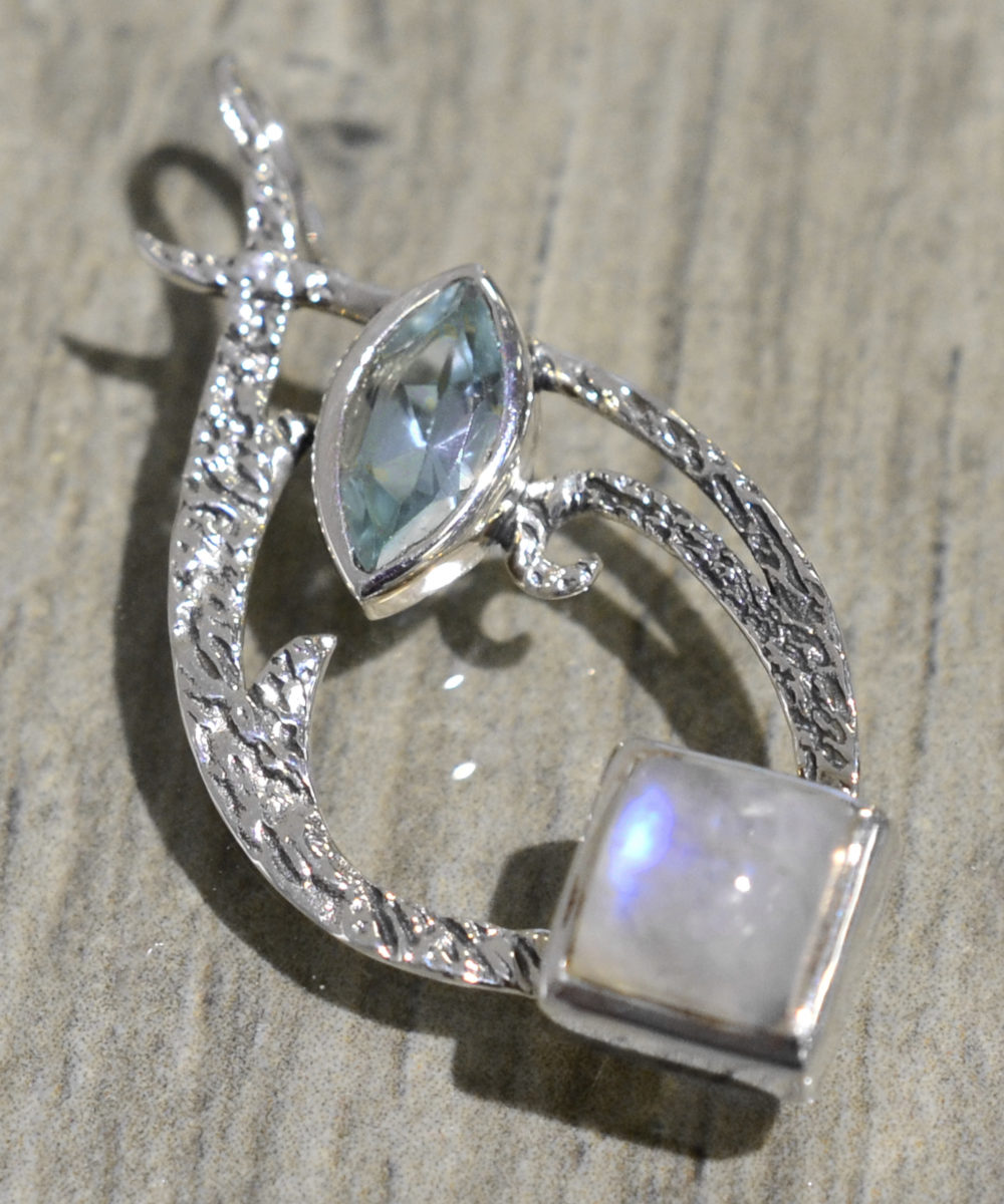 square moonstone and blue topaz swirl drop pendant