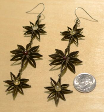 Michael Michaud Silver Seasons Star Anise long earrings with dime