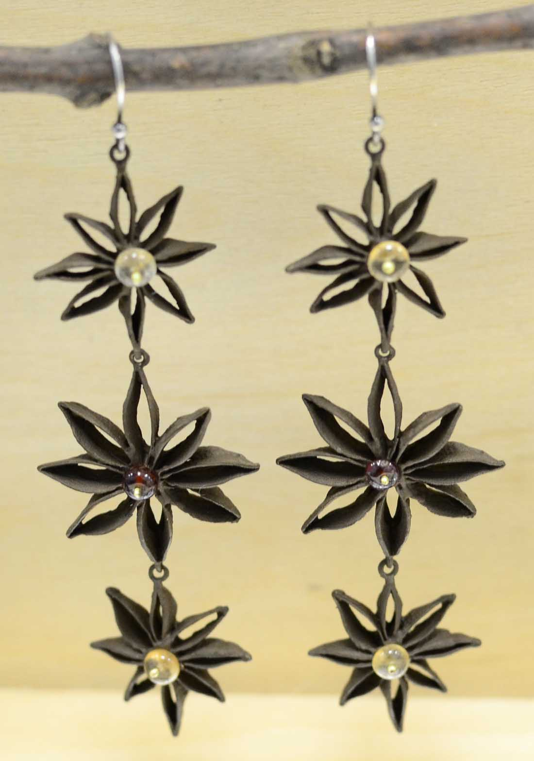 Michael Michaud Silver Seasons Star Anise long earrings