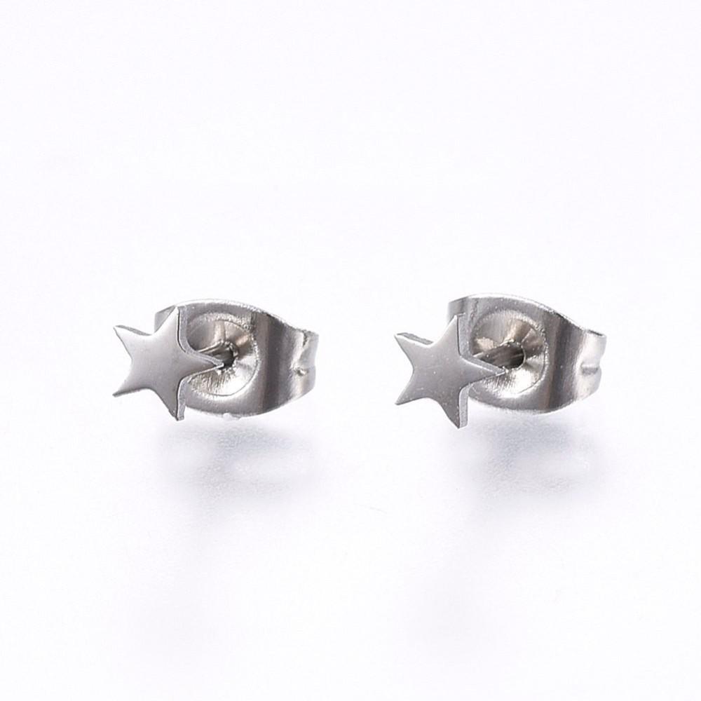 stainless steel petite 4 MM star earrings