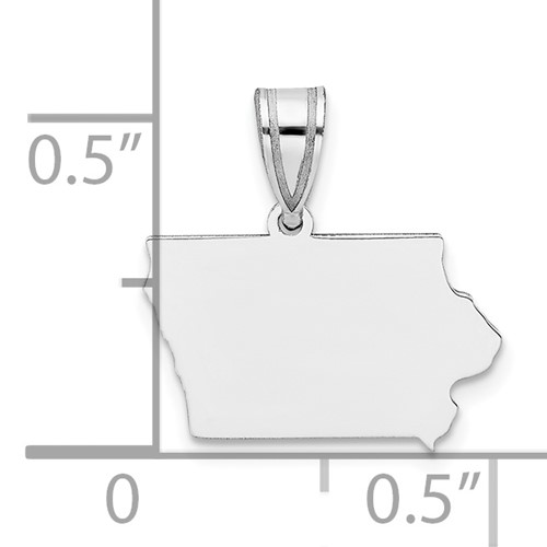 State of Iowa Sterling silver pendant with ruler