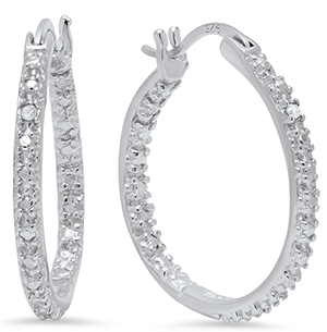 sterling silver hoop earrings with diamond accent