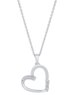 diamond heart sterling silver necklace