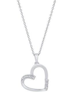 diamond heart sterling silver necklace