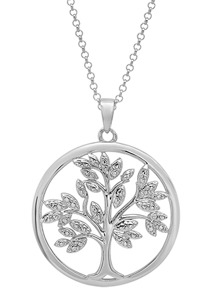 diamond accented tree of life sterling silver necklace