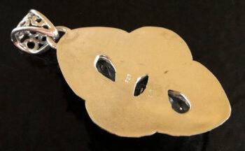 back of blue topaz sterling silver pendant