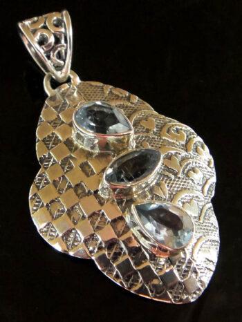 blue topaz sterling silver pendant