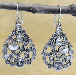 "St. Petersburg silver tone earrings in color ""All Crystal"" by Patricia Locke"