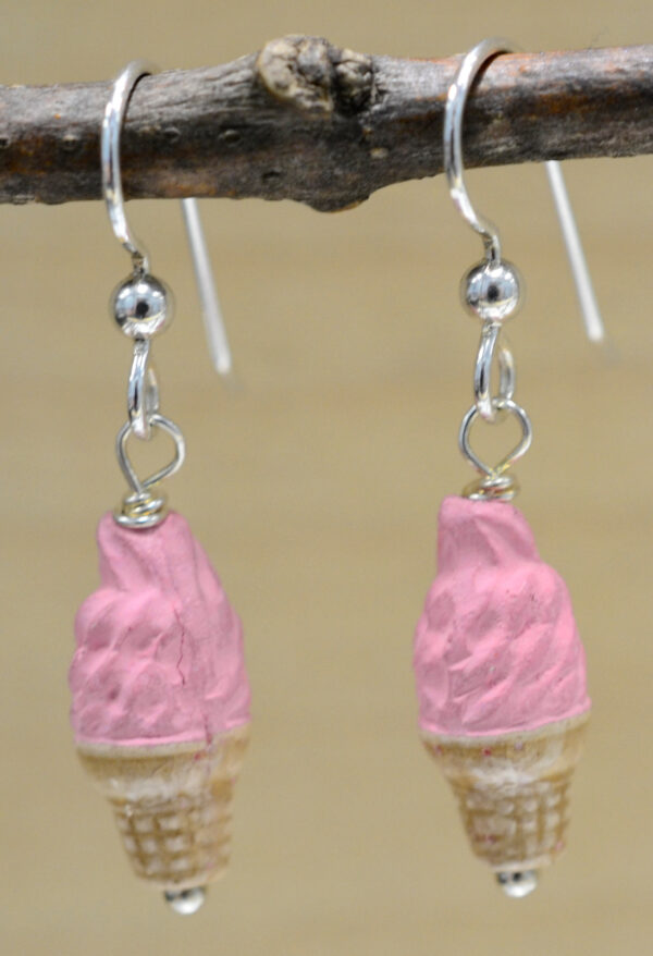 ceramic strawberry ice cream cone earrings