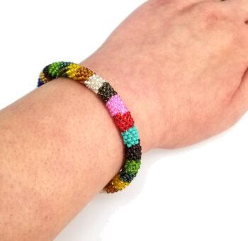 roll-on multi-color Czech glass seed bead bracelet on wrist