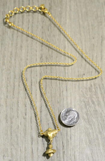 Michael Michaud Silver Seasons succulent rose necklace back view, shown with dime (not included) for scale