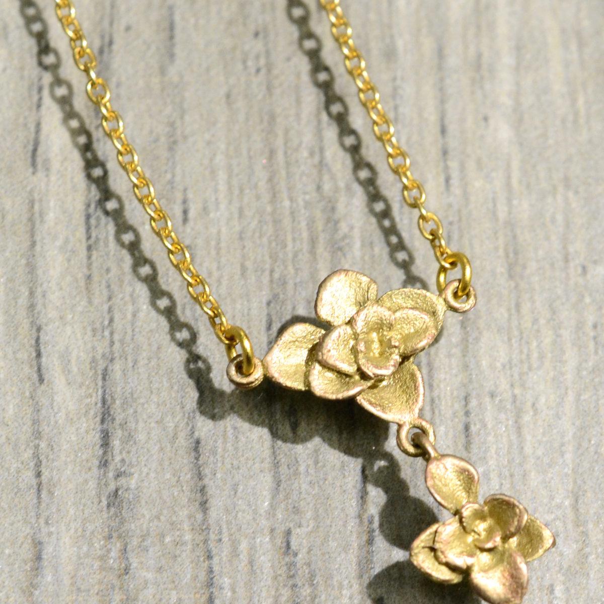 Michael Michaud Silver Seasons succulent rose necklace