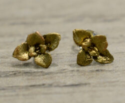 handmade bronze Succulent earrings by Michael Michaud