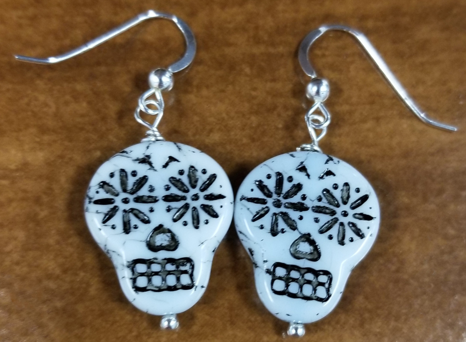 handmade sugar skull earrings