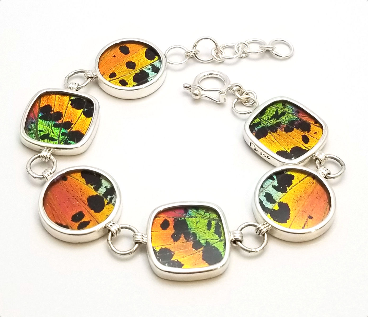 real sunset moth wings under resin and sterling silver bracelet