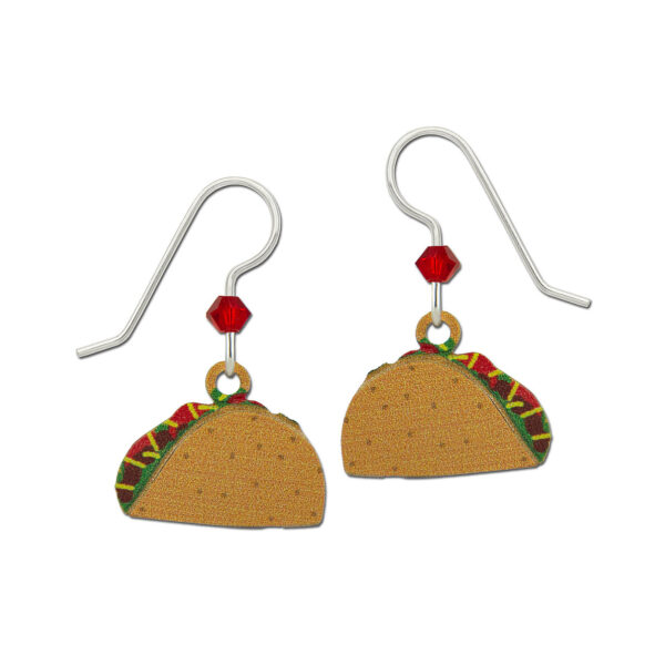 Taco earrings with sterling silver ear-wires