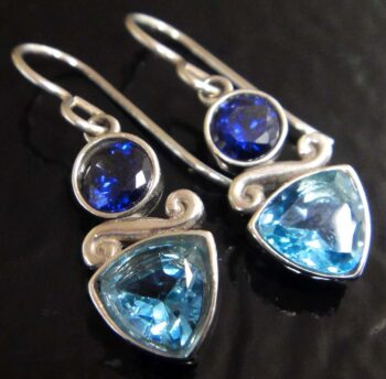 These tanzanite cubic zirconia and blue topaz earrings are handmade by Sonoma Art Works.