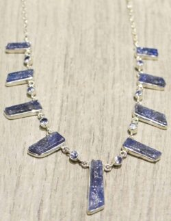 faceted and rough tanzanite necklace