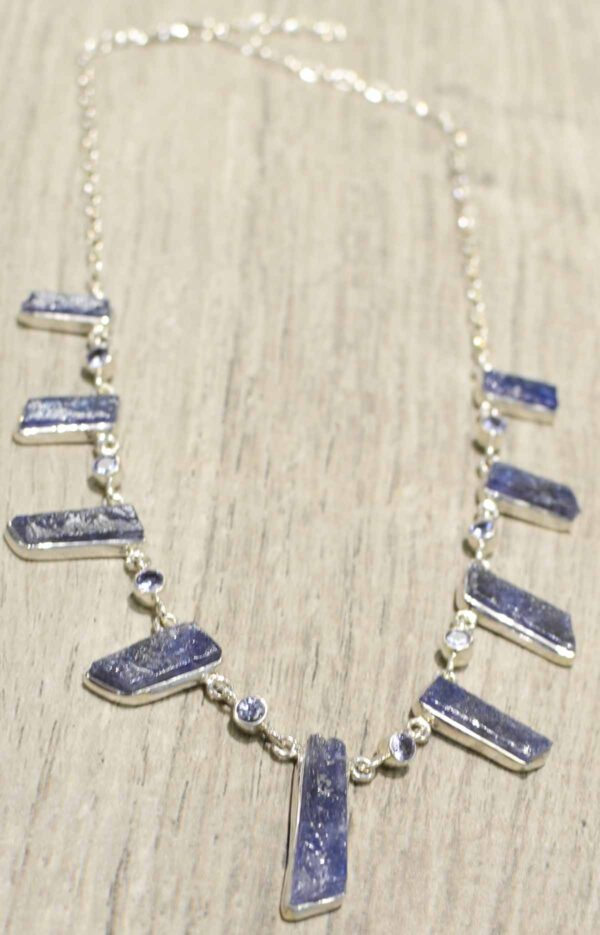 rough and faceted tanzanite sterling silver necklace