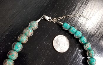 Murano glass necklace clasp with extender chain with dime for scale