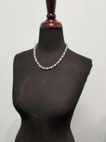 blue and teal Murano Glass necklace on dress form