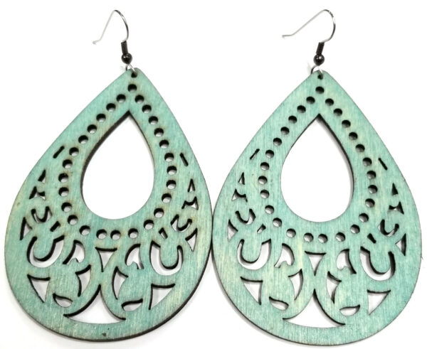 LARGE teal wooden statement earrings