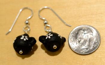 Black ceramic teapot earrings with dime