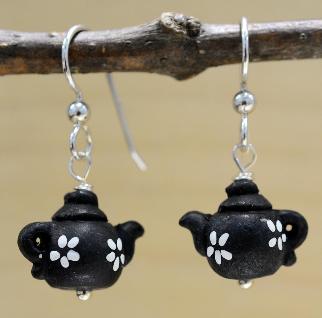 Ceramic black flower teapot earrings