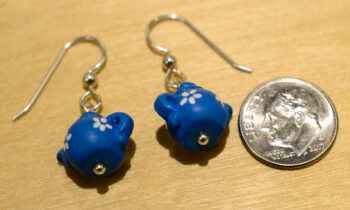 blue ceramic teapot earrings with dime