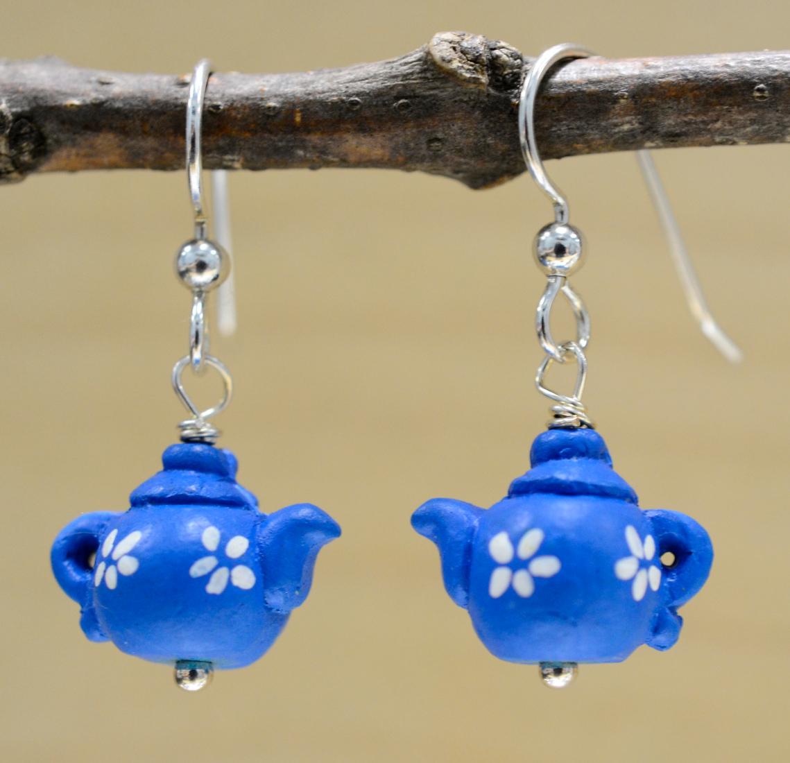 Blue ceramic teapot earrings