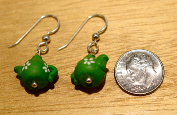 green teapot earrings with dime
