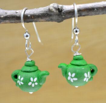 Green ceramic teapot earrings