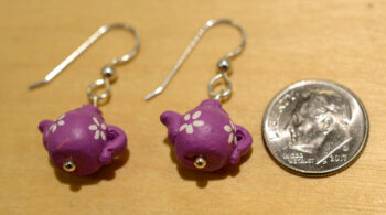 violet teapot earrings with dime