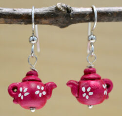 red teapot earrings