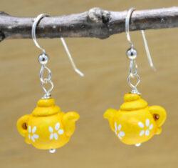 yellow teapot earrings