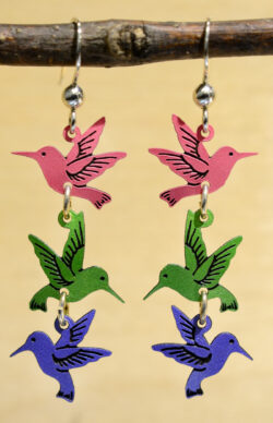 pink, green and blue hummingbird dangle earrings
