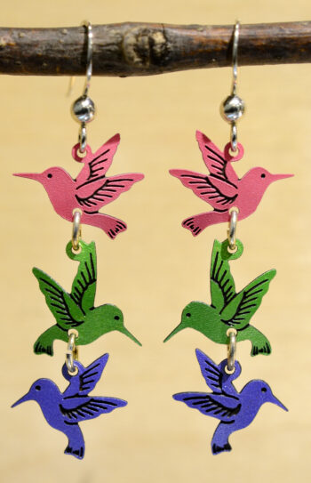pink, green and blue hummingbird dangle earrings
