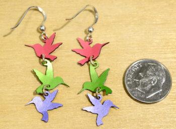 Back of hummingbird dangle earrings