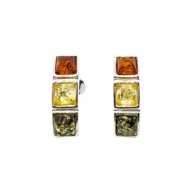 Cognac, lemon, and green amber post earrings