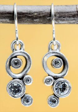 Patricia Locke Tiddlywinks silvertone drop earrings in All Crystal