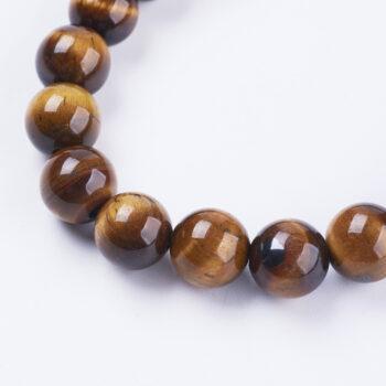 close up of brown tiger's eye gemstone beads