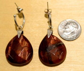 back of red cherry tigers eye drop earrings with dime