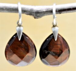 handmade red cherry tigers eye earrings