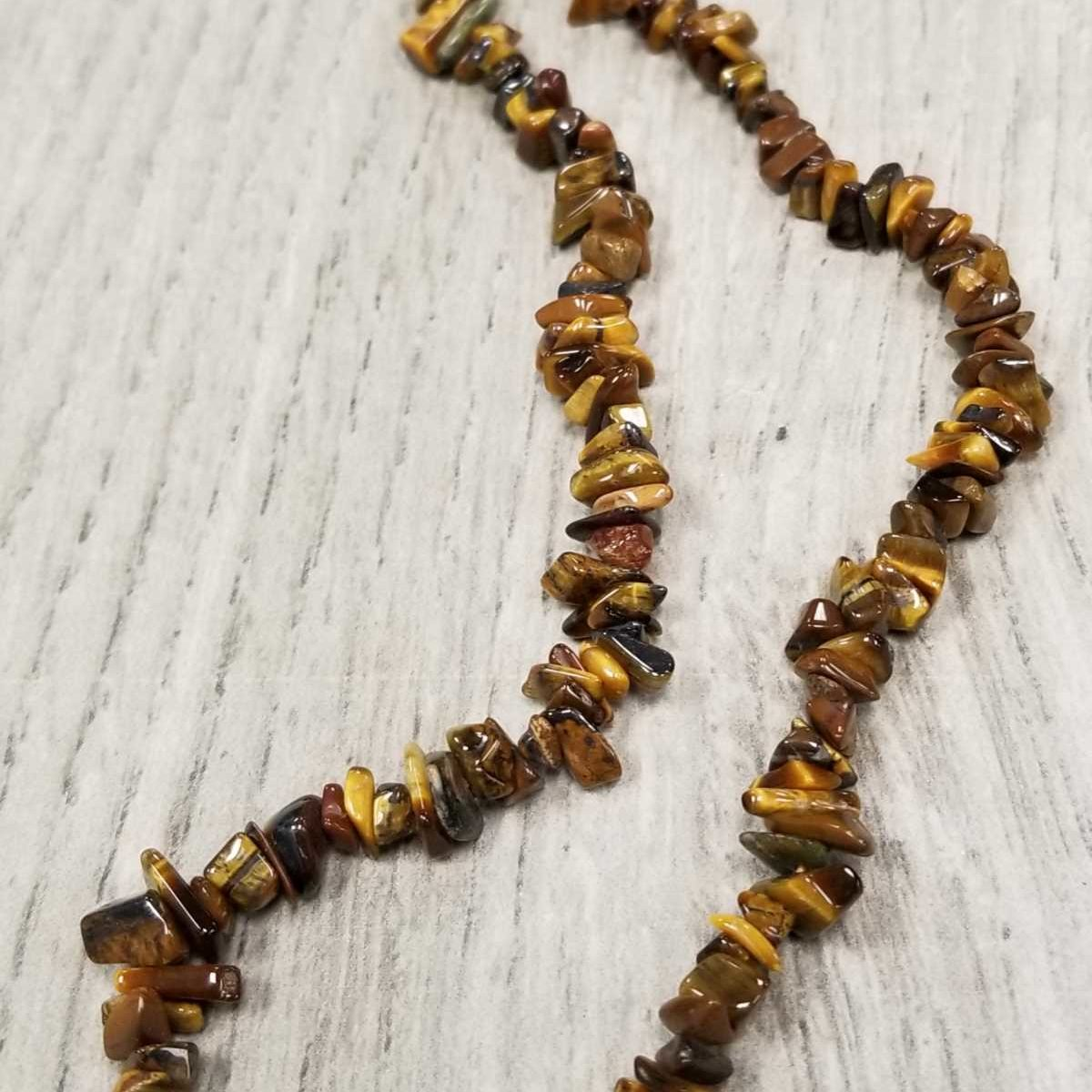 Tiger's eye gemstone chip necklace