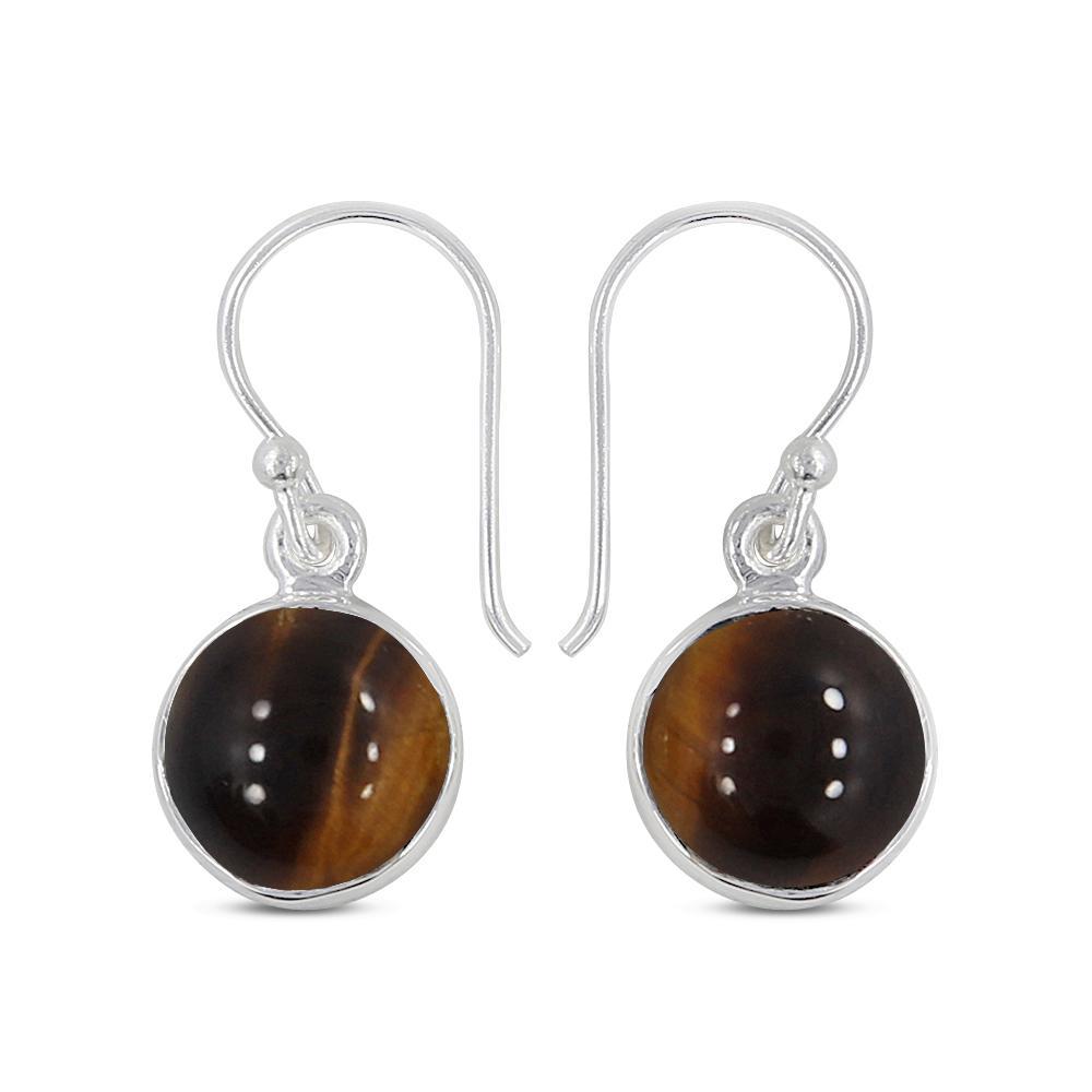 Brown tiger's eye gemstone and sterling silver earrings